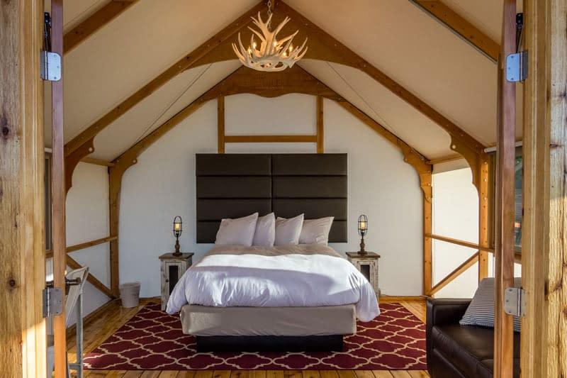 Glamping tent interior at Echo Canyon and Royal Gorge Cabins