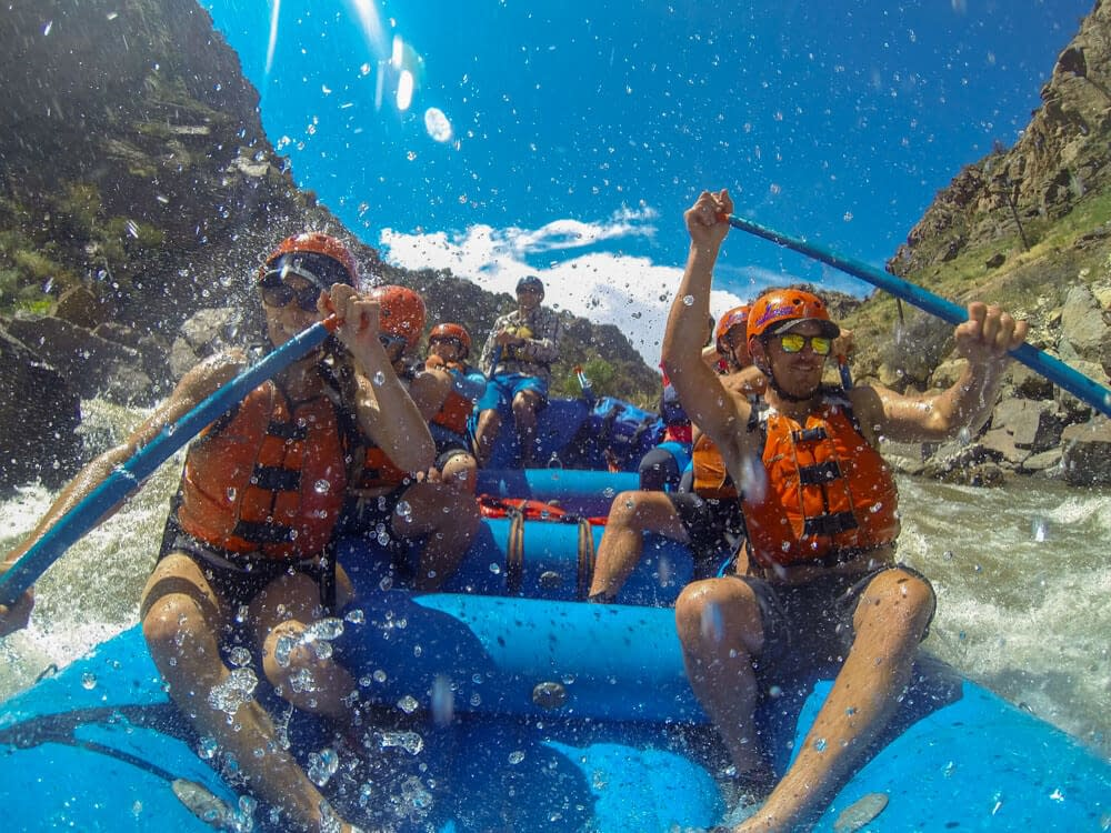 Rafting group paddles through the Royal Gorge