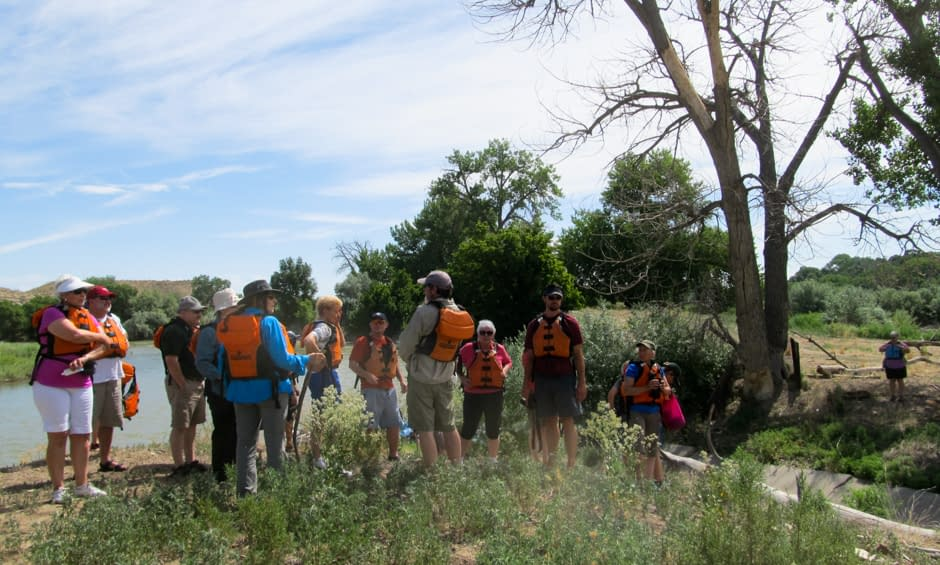 Interpretive stop during raft trip with Echo Canyon River Expeditions