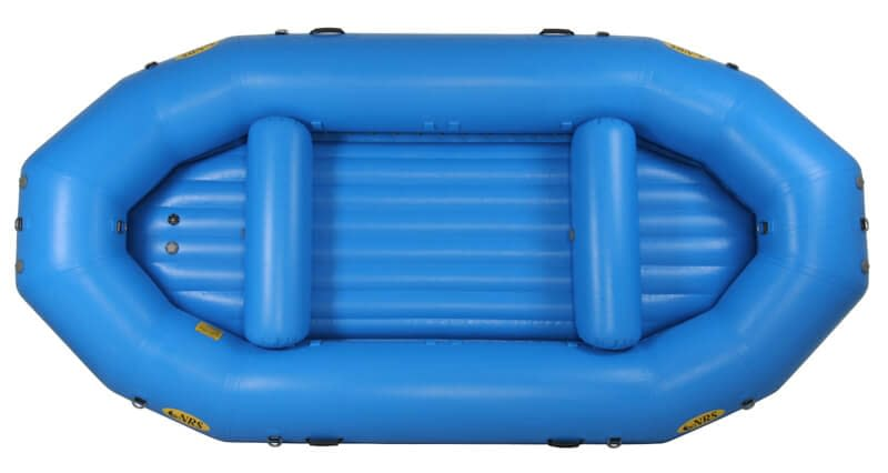 top view of self-bailing raft
