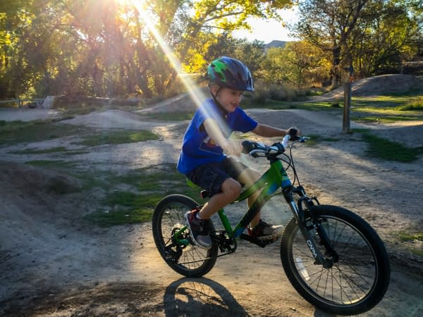 child mountain biking