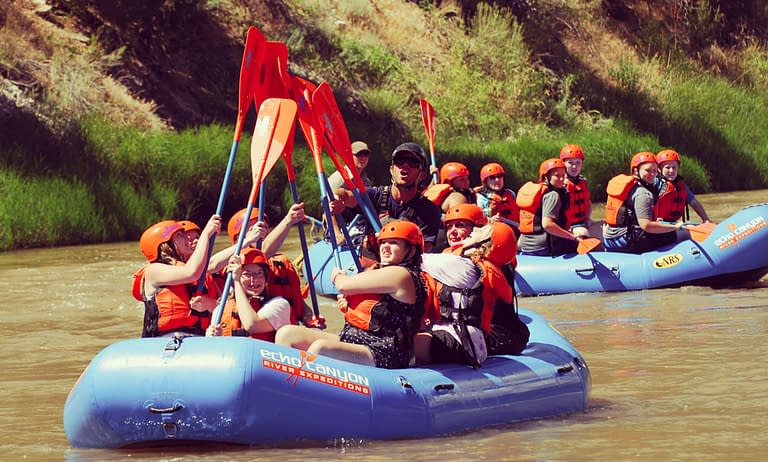 High five! Youth rafting trip