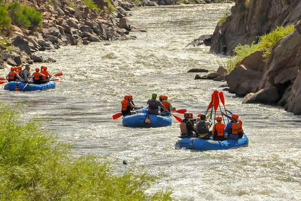 paddle high five on trip through Royal Gorge