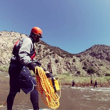 River rescue skills while guide training with Echo Canyon