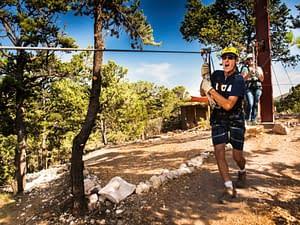 A running start for a zipline ride