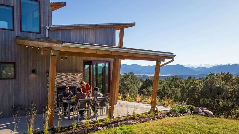 large patio with each luxury cabin