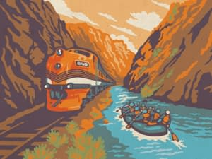 Raft-n-Rail combination rafting trip and historic train ride