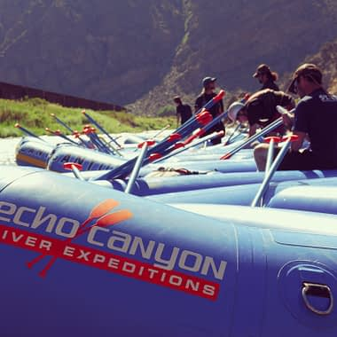 Echo Canyon raft guides prepare for family raft trip