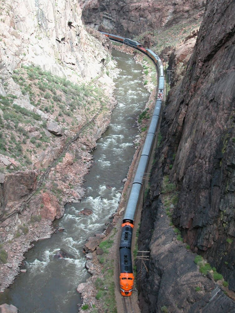 view of royal gorge route train from bridge