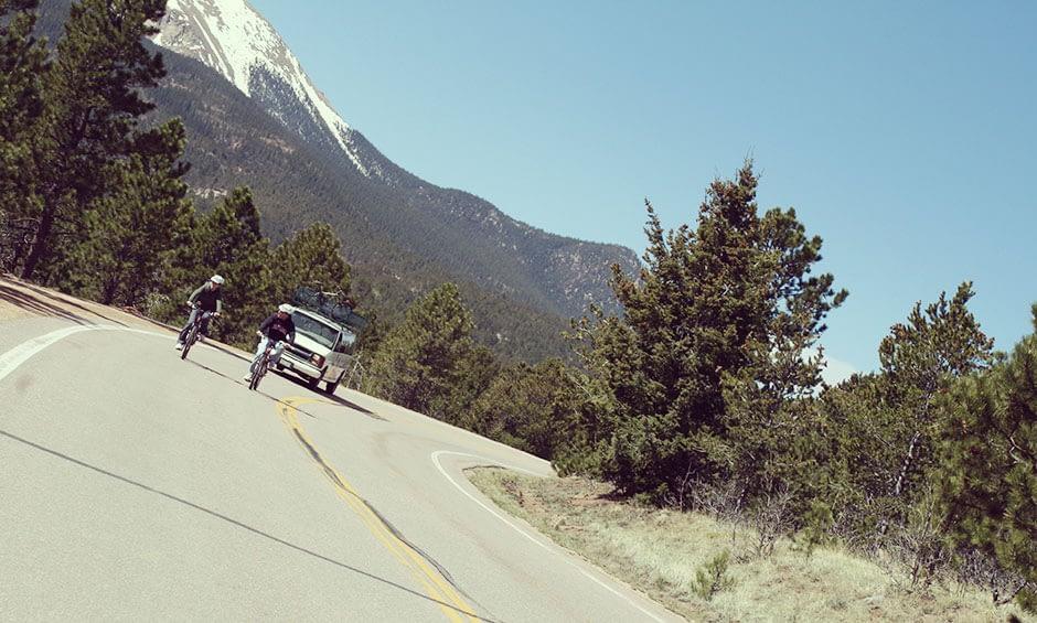 pikes peak mountain views on bike pikes peak tour